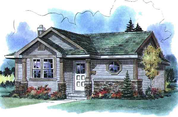 Ranch , Elevation of Plan 58517