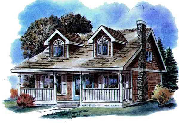 Cape Cod House Plan 58520 with 3 Beds, 2 Baths Elevation