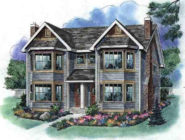 Narrow Lot Multi-Family Plan 58523 with 6 Beds, 6 Baths Elevation
