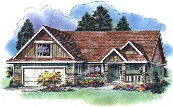 One-Story Ranch Elevation of Plan 58527