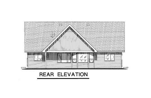 One-Story Ranch Rear Elevation of Plan 58527