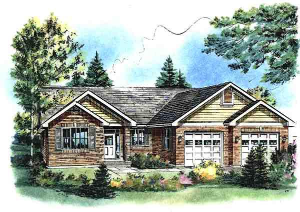 Ranch House Plan 58534 with 3 Beds, 2 Baths, 2 Car Garage Elevation