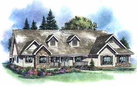 Ranch House Plan 58535 with 4 Beds, 3 Baths, 3 Car Garage Elevation