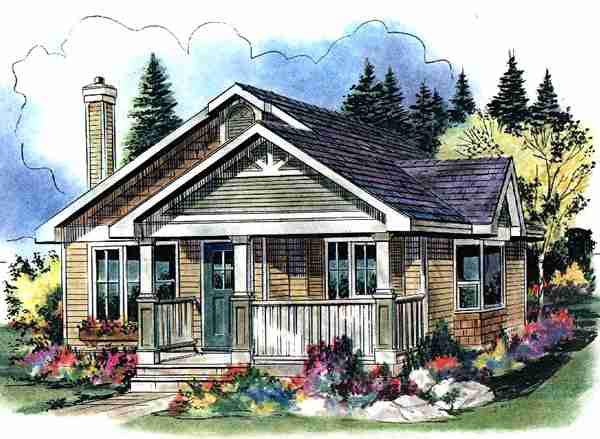 Craftsman, Narrow Lot, One-Story House Plan 58539 with 1 Beds, 1 Baths Elevation