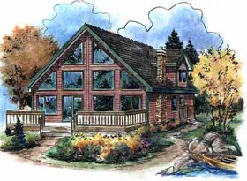 House Plan 58543 | Contemporary Style Plan with 1654 Sq Ft, 3 Bedrooms, 2 Bathrooms Elevation