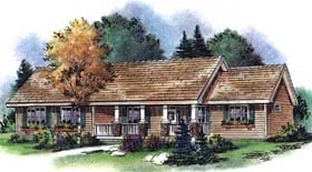 Ranch House Plan 58545 with 3 Beds, 2 Baths, 3 Car Garage Elevation