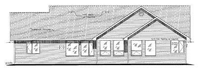 Ranch House Plan 58545 with 3 Beds, 2 Baths, 3 Car Garage Rear Elevation