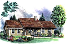 Ranch House Plan 58550 with 3 Beds, 2 Baths, 2 Car Garage Elevation