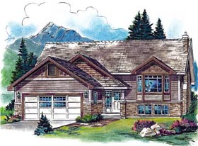 House Plan 58556 | Craftsman Style Plan with 1254 Sq Ft, 2 Bedrooms, 2 Bathrooms, 2 Car Garage Elevation