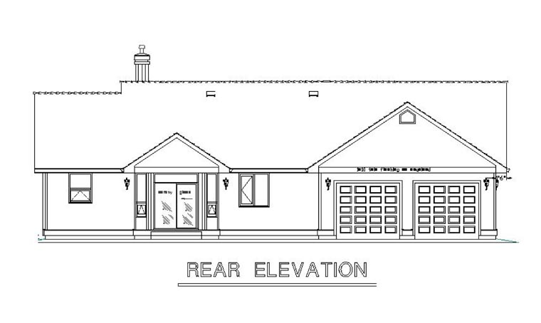 Country , Rear Elevation of Plan 58558