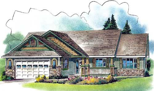 European One-Story Elevation of Plan 58560