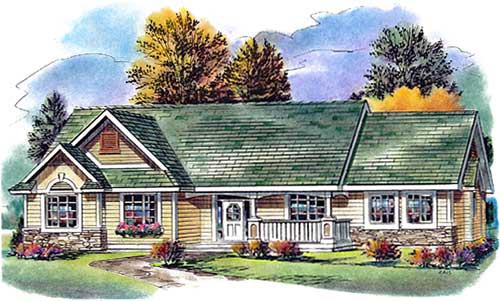 One-Story Ranch Elevation of Plan 58561