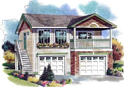 Country, Narrow Lot 2 Car Garage Apartment Plan 58562 with 1 Beds, 1 Baths Elevation