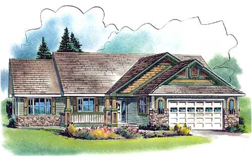 European One-Story Elevation of Plan 58564