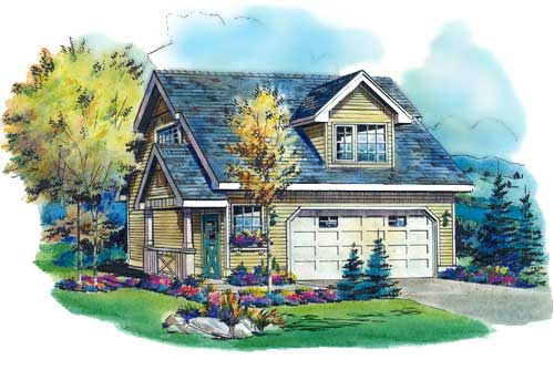Garage Plan 58567 | Cottage Traditional Style Plan with 434 Sq Ft, 1 Bedrooms, 1 Bathrooms, 2 Car Garage Elevation