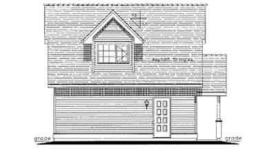 Cottage, Traditional 2 Car Garage Apartment Plan 58567 with 1 Beds, 1 Baths Rear Elevation