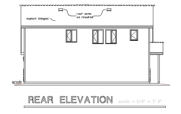 Traditional Garage Plan 58568 Rear Elevation