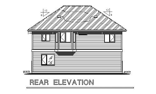 Traditional Rear Elevation of Plan 58569