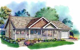 House Plan 58571 | Ranch Style Plan with 1368 Sq Ft, 3 Bedrooms, 2 Bathrooms, 2 Car Garage Elevation