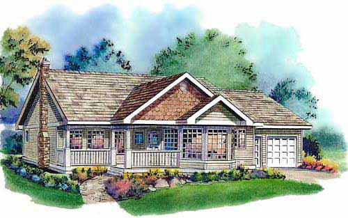 One-Story, Ranch House Plan 58571 with 3 Beds, 2 Baths, 2 Car Garage Elevation