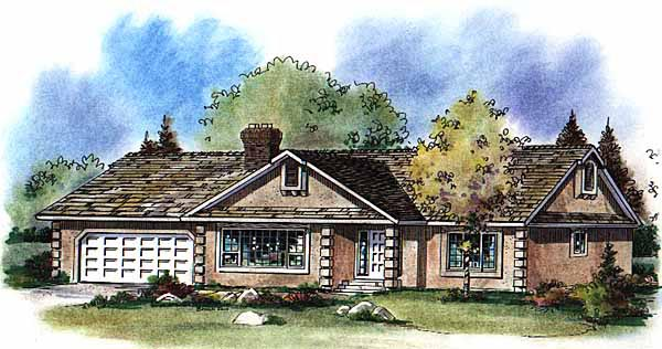 House Plan 58572 | Ranch Style Plan with 1634 Sq Ft, 3 Bedrooms, 2 Bathrooms, 2 Car Garage Elevation