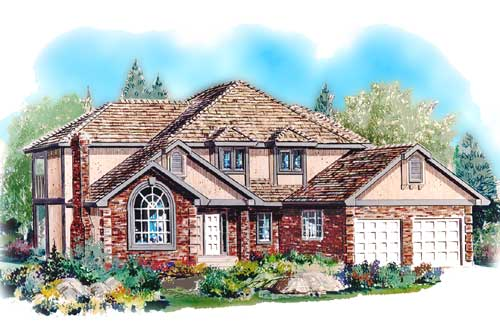 House Plan 58573 | European Style Plan with 2390 Sq Ft, 4 Bedrooms, 3 Bathrooms, 2 Car Garage Elevation