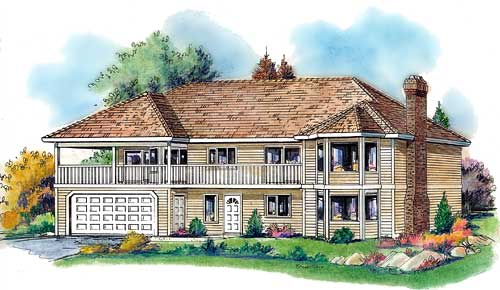 Traditional House Plan 58574 with 5 Beds, 3 Baths, 2 Car Garage Elevation