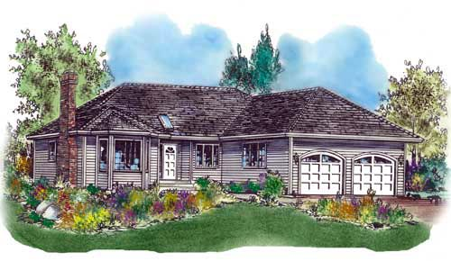Ranch House Plan 58580 with 3 Beds, 2 Baths, 2 Car Garage Elevation