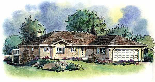 Florida, One-Story House Plan 58588 with 2 Beds, 2 Baths, 2 Car Garage Elevation