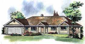 House Plan 58589 | Ranch Style Plan with 1882 Sq Ft, 3 Bedrooms, 2 Bathrooms, 2 Car Garage Elevation