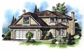 House Plan 58593 | European Style Plan with 1970 Sq Ft, 5 Bedrooms, 3 Bathrooms, 2 Car Garage Elevation