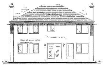 European House Plan 58593 Rear Elevation