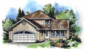 European House Plan 58597 with 3 Beds, 2 Baths, 2 Car Garage Elevation