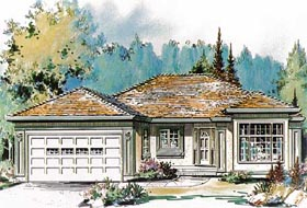 House Plan 58598 | Ranch Style Plan with 1870 Sq Ft, 3 Bedrooms, 2 Bathrooms, 2 Car Garage Elevation