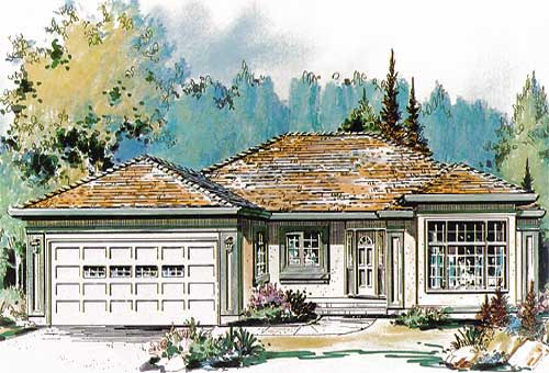 One-Story Ranch Elevation of Plan 58598