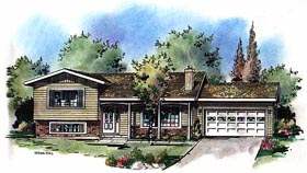 Ranch House Plan 58599 with 3 Beds, 2 Baths, 2 Car Garage Elevation