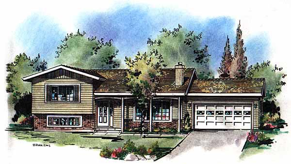 One-Story, Ranch House Plan 58599 with 3 Beds, 2 Baths, 2 Car Garage Elevation