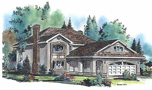European, Narrow Lot House Plan 58608 with 4 Beds, 3 Baths, 2 Car Garage Front Elevation