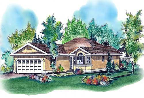 Florida Narrow Lot One-Story Elevation of Plan 58610