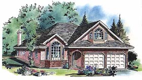 Ranch House Plan 58612 with 4 Beds, 3 Baths, 2 Car Garage Elevation