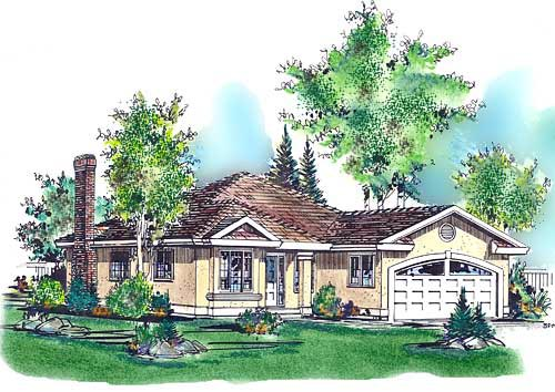 Florida House Plan 58614 with 3 Beds, 2 Baths, 2 Car Garage Elevation