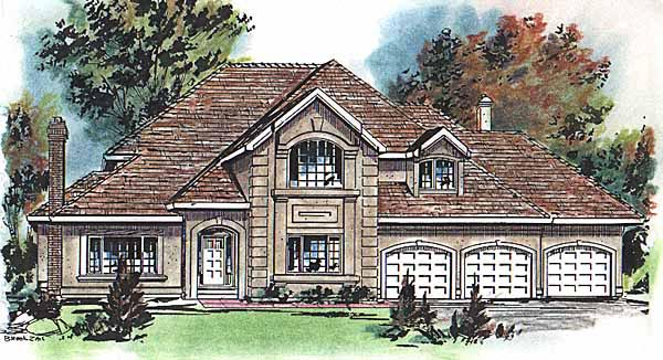 European House Plan 58615 with 3 Beds, 4 Baths, 3 Car Garage Elevation