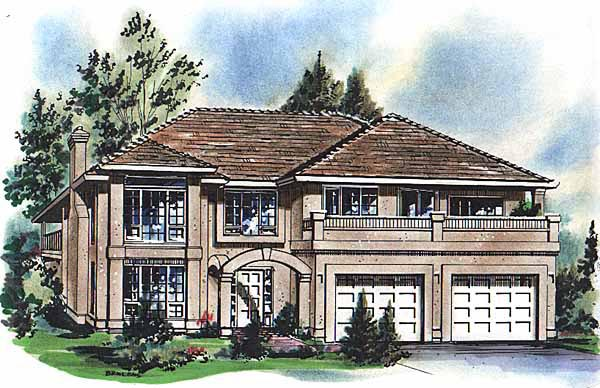 European House Plan 58618 with 2 Beds, 2 Baths, 2 Car Garage Elevation