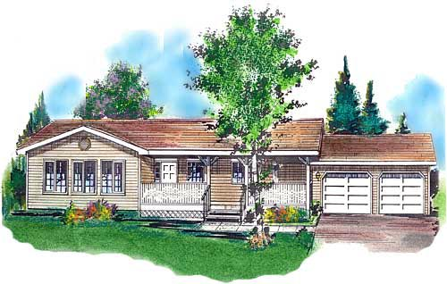 Country , One-Story House Plan 58623 with 2 Beds, 1 Baths, 2 Car Garage Elevation