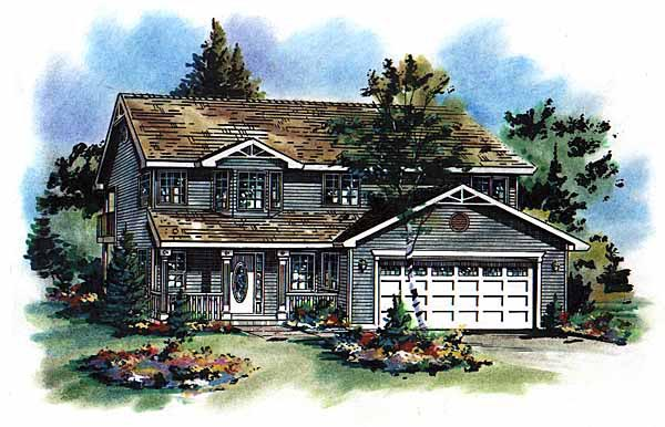 Farmhouse House Plan 58625 with 3 Beds, 2 Baths, 2 Car Garage Elevation