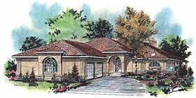 House Plan 58626 | Mediterranean Style Plan with 2056 Sq Ft, 2 Bedrooms, 3 Bathrooms, 2 Car Garage Elevation