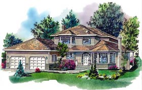 House Plan 58628 | European Style Plan with 2547 Sq Ft, 3 Bedrooms, 3 Bathrooms, 2 Car Garage Elevation