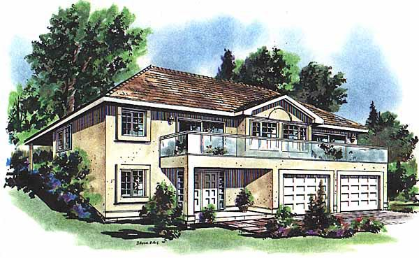 European House Plan 58631 with 3 Beds, 2 Baths, 2 Car Garage Elevation