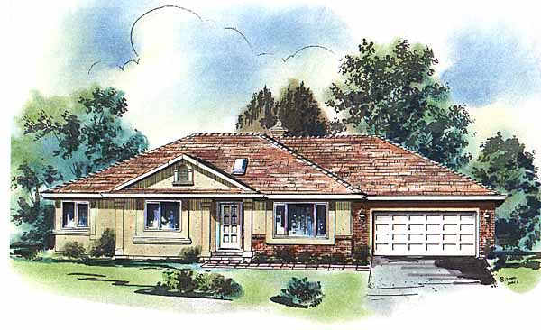 One-Story, Ranch House Plan 58634 with 3 Beds, 2 Baths, 2 Car Garage Elevation
