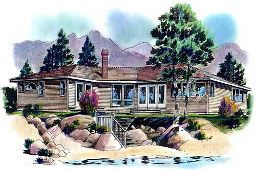 Contemporary, One-Story House Plan 58635 with 3 Beds, 2 Baths Elevation